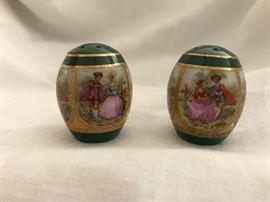 "Transferware Porcelain Antique Salt & Pepper  (1.5"")   12.— (set)"