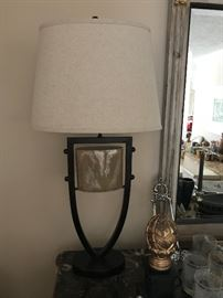 """Ethnic Inspired 80's Deco Burnished  Iron Lamps  (33"""" x 16"""" overall - including shade & finial)   255.— (pair)"""