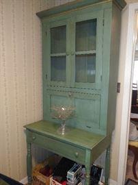 Antique drop down secretary - walnut under paint