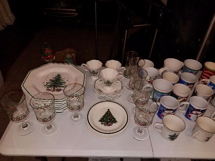 NIKKO Christmas China set. 8 plates, 6 saucers, 3 cups, and 1 glass