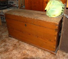 Primitive Coffin Lid & Dovetailed Pine Chest