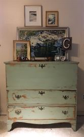 Antique 19th century blanket chest that some one 'repainted' not realizing it's age.  This piece does not have the original pulls but it has square head nails in the construction.   It is a fine piece that should be refinished.