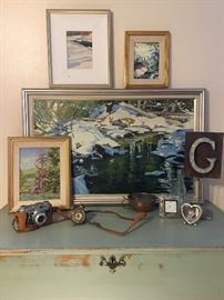 Various pieces of original framed artwork, such as these paintings by Texas artist, Ronnie Williford