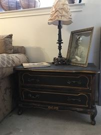 Repainted and faux distressed French Provincial end table/night stand 'A'.