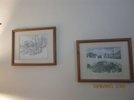 "Two water colors from a gallery in Kennebunkport, Maine. The one on the left is "" A winter scene"". The one on the right is ""Summer Time"""