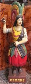 Vintage Life Size Hand Carved, hand painted, Wood Tobacco Indian Cigar Store Princess