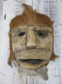 Vintage Wood Tribal Mask, Animal Hide