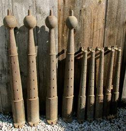 Antique Sand Cast Cast Iron Architectural Fence posts from the Sandusky Fairgrounds c1860's