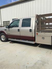 Flat bed work truck