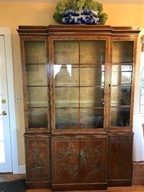 Chinoiserie China cabinet hand painted and gold leaf, beveled glass shelves, lights up   4' 7 inch  wide , 12inch and 14 inch deep, 6'6 tall          $  Sale Price   $400.00                 Final sale $285.00