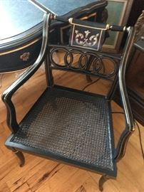 Desk Chair , with gold leaf trim and canned seat, it is perfect with the  drexel desk previous picture. Sale Price             $ 140.00