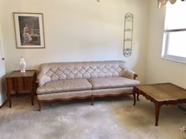 Great Condition Vintage Metallic Sofa AND End Table and Matching Coffee Table AVAILABLE FOR PRESALE