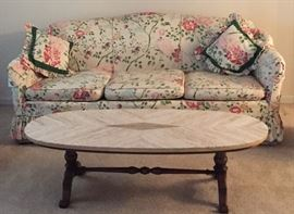 Floral Sofa and Marble Coffee Table AVAILABLE FOR PRESALE