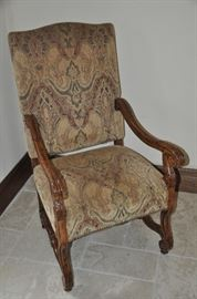 Beautiful French Walnut Dining Chair with nail-head design by Fremarc Designs.