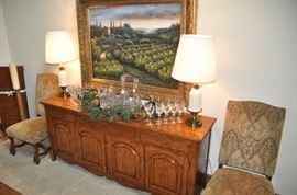 "Large matching French Walnut Buffet by Fremarc Design.  84""L x 36""H x 21""D"