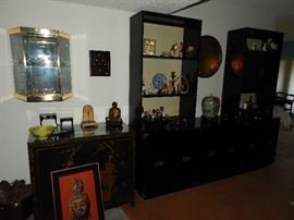 Large Asian style buffet with shelf units