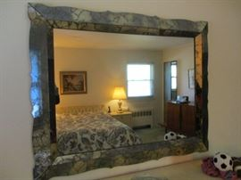 VINTAGE SMOKED GLASS FRAMED MIRROR