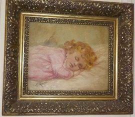 Sleeping girl oil painting