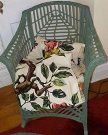 Green rocker, Bark cloth drapes (sold separately)
