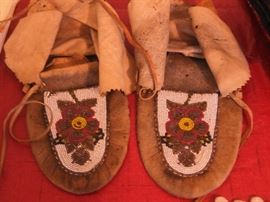 Han-Kutchin is an Athabascan Tribe of Alaska and the Yukon.  Some times called the Moosehide Tribe by outsiders. These are Circa 1890s Beaded Moccasins for this tribe. Th e man who acquired these moccasins was a  prospector during the Yukon Gold Rush.