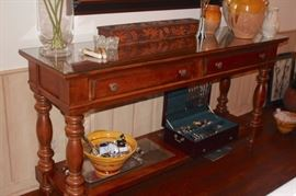 Console Table with Decorative Items, Flatware and more..