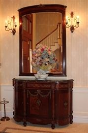 Antique Inlaid Cabinet with Marquetry and Oversized Mirror with Pair of Wall Sconces and Floral Decorative