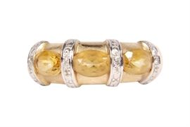 14K Gold, Citrine & Diamond Ring, Size 7.75