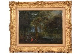 Fine 17th Century Continental Oil On Panel, Landscape With Figural