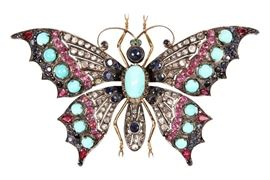 Antique Gem Set Butterfly Brooch - Appraised At $6,500