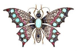 Antique Gem Set Butterfly Brooch - Appraised At $6,500