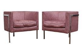 Pair Of Harvey Prober Chrome Framed Club Chairs