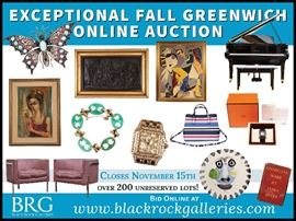 BRG - GREENWICH 179 Hamilton Avenue, Greenwich CT 06830  Inspection is available Wednesday, November 8th through Saturday, November 11th from 10 a.m. to 3 p.m. and Tuesday, November 14th through Wednesday, November 15th from 10 a.m. to 3 p.m.                                          For other times, please call the gallery at 203-900-1110.