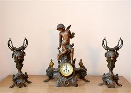 Art Nouveau Mantle Clock & Urns