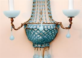 Pair of Vintage Blue Opaline Beaded Wall Sconces