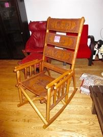 hand made, from Costa Rica, a leather rocking chair