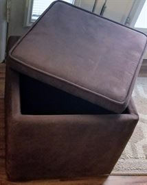 Dark Brown Cube Ottoman with Storage