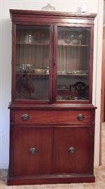 "This Mid-Century China Cabinet Measures 68"" High, 34"" Wide, 13.5 "" Deep at Top, 16.5"" Deep at Bottom"