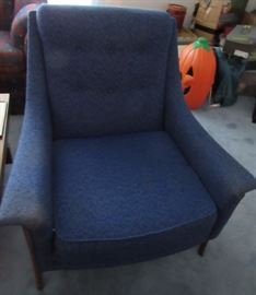 MCM blue upholstered chairs (2) - need some cleaning but otherwise in great shape
