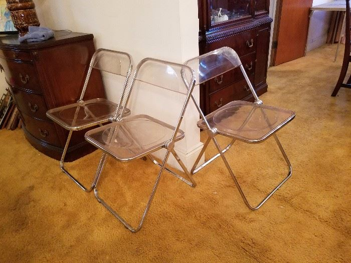 Vintage 1960s Castelli lucite folding chairs