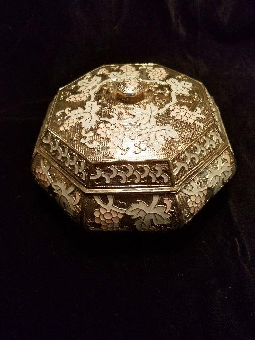 PURE silver Korean cloisonne lidded bowl with original velvet box. An amazing gift!