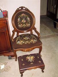 Living Room:  Needlepoint Chair & Ottoman
