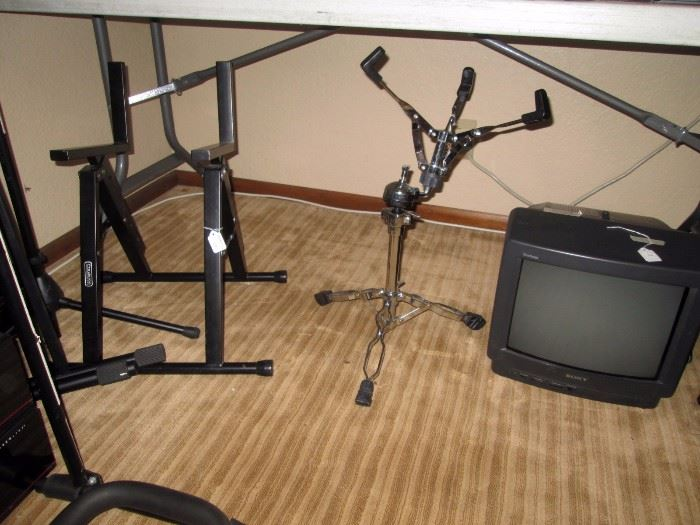 Basement:  Speaker z stand, Snare Drum stand, Sony TV