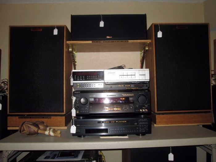 Basement: Klipsch Speakers-2 KG4 & KV3, Yamaha cdc705, Sony str-de925, RCA tjp900t