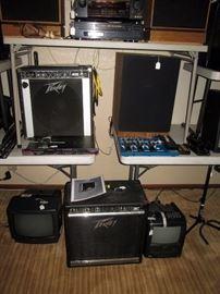 Basement:  Peavey, Klipsch mx-80 speaker, Symponic Video cr3909