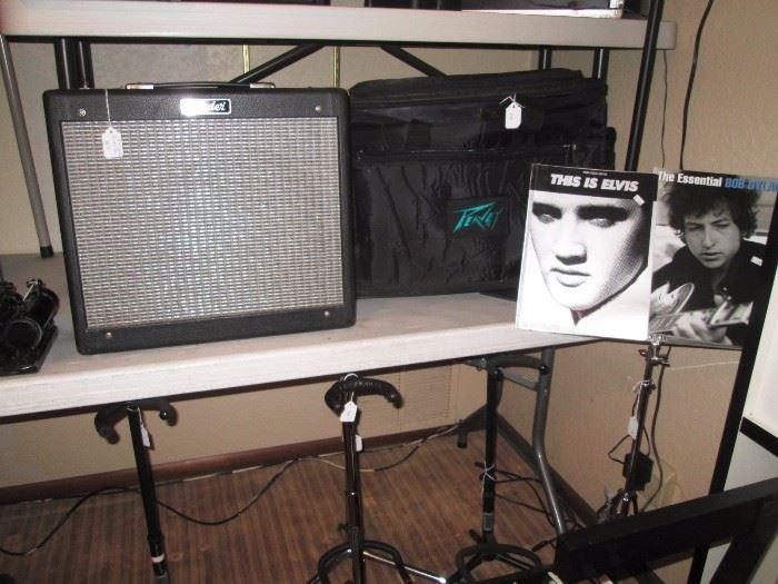 Basement:  Fender Blues Junior Amp pr-295, Peavey Bag, Elvis & Dylan Music