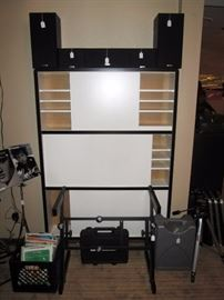 Basement:  White Cabinet, 5 Kenmore Speakers, Z stand, Iron Cobra Pedal Box