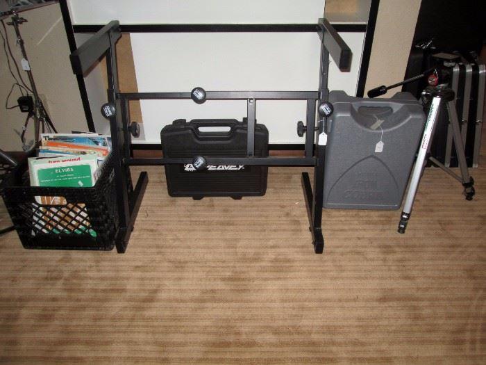 Basement:  Sheet Music Z stand, Iron Cobra Pedal Box