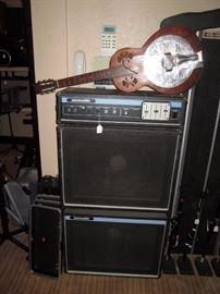 Basement:  Acoustic Speakers Model 220, ReSounder Guitar