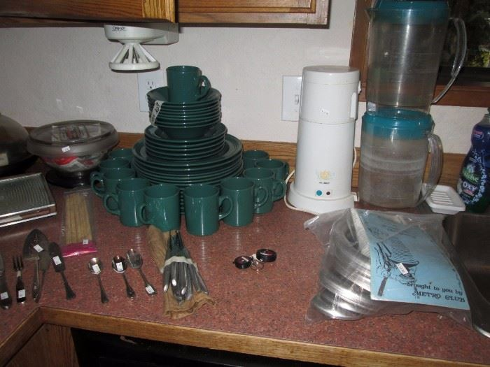 Kitchen:  Green Plates, Cups, Saucers, etc.