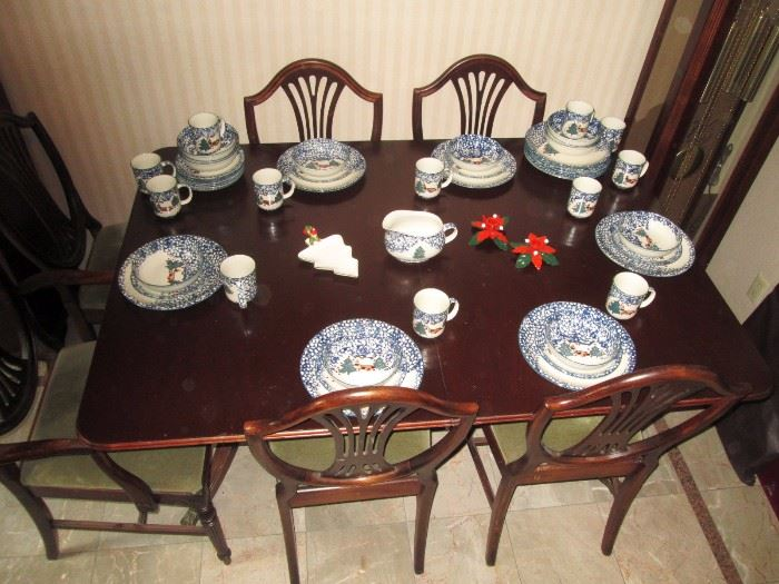 """DiningRoom:  49 PiecesTienshan FolkCraft """"Cabin in the Snow"""" 12 Place Settings, 1 Gravy Boat China"""